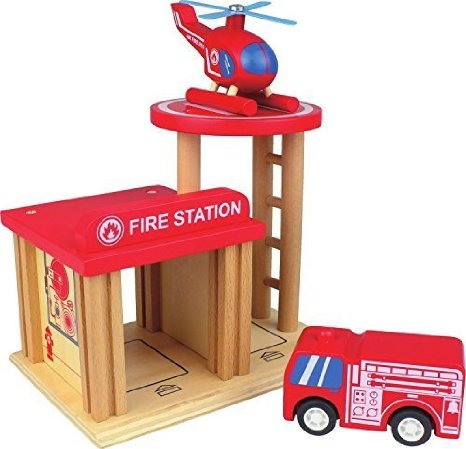 Nicko Q-Pack Wooden Fire Station homepage image wooden firestation,firestation,wooden toys